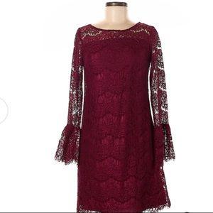 Roz&Ali burgundy lace bell sleeve dress